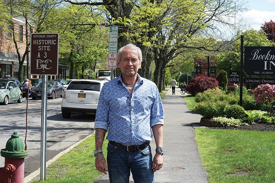 Frey Johnsson at the intersection of Mill and Market streets in Rhinebeck. - PHOTO: JOHN GARAY