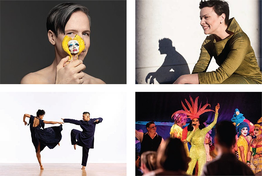"""Clockwise from top left: - John Cameron Mitchell in """"The Origin of Love: The Songs and Stories of Hedwig,"""" July 27 - Photo by Matthew Placek - Ausrine Stundyte in """"The Miracle of Heliane,"""" July 26, 28 and August 2, 4 - Photo by Schneider Photography - Susanne Bartsch presents Spiegeltent Follies, July 20 - Photo by Maria Baranova - Ron K. Brown / EVIDENCE performs """"Grace and Mercy,"""" July 5-7 - Photo by Matt Karas"""