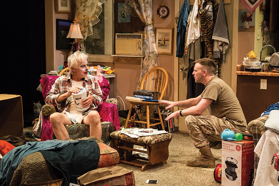 """Above: The Shakespeare and Co. production of """"HIR"""" by Taylor Mack, with John Hadden and Adam Huff. - PHOTO: EMMA ROTHENBERG-WARE"""