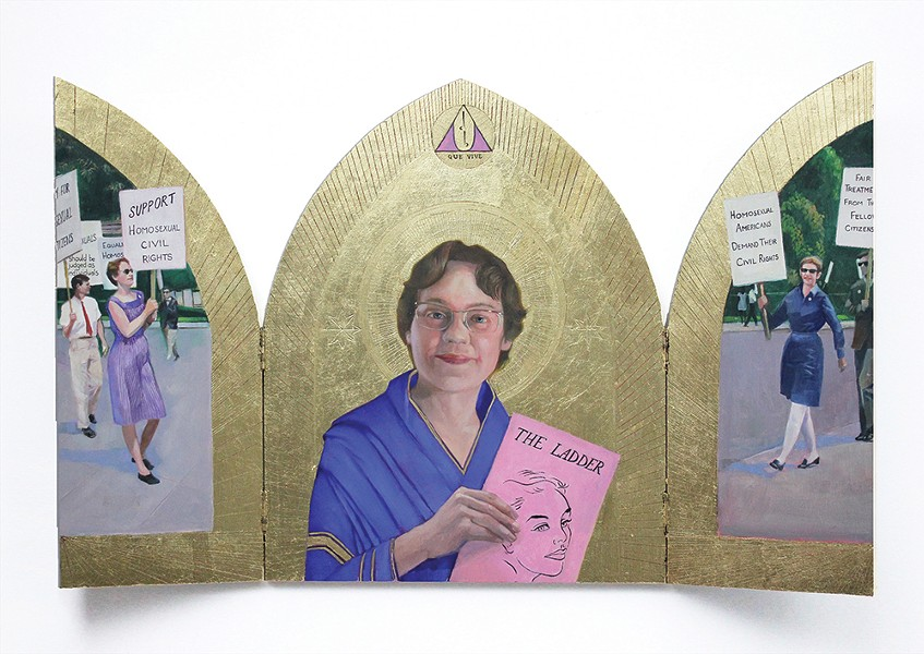 "Barbara Gittings Triptych, Carl Grauer, oil on - board with gold leaf detail, 20"" x 32"", 2019."