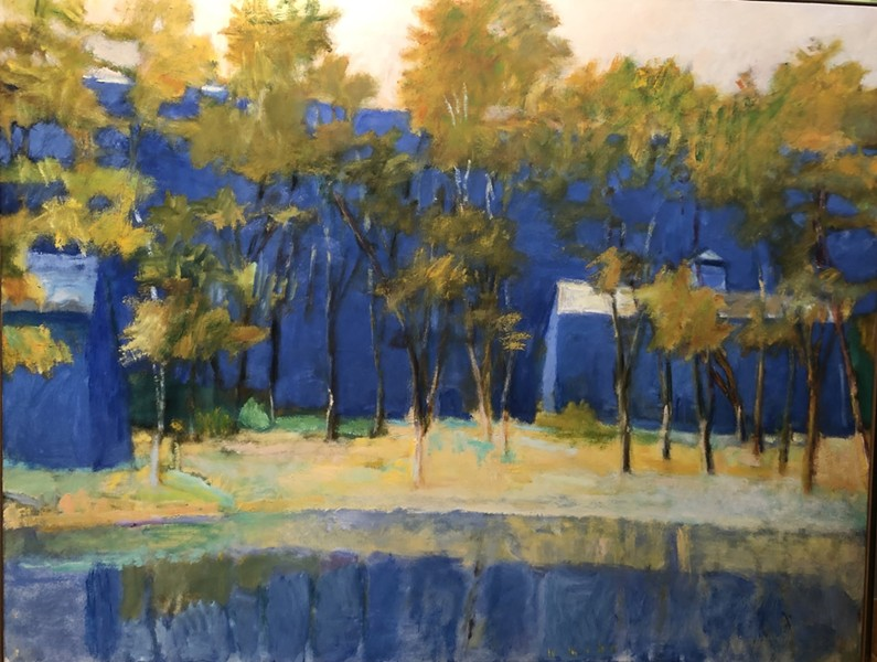 Wolf Kahn. Two Farm Buildings and a Pond, 1989. Oil on canvas 40 × 52 in - COURTESY OF ECKERT FINE ART