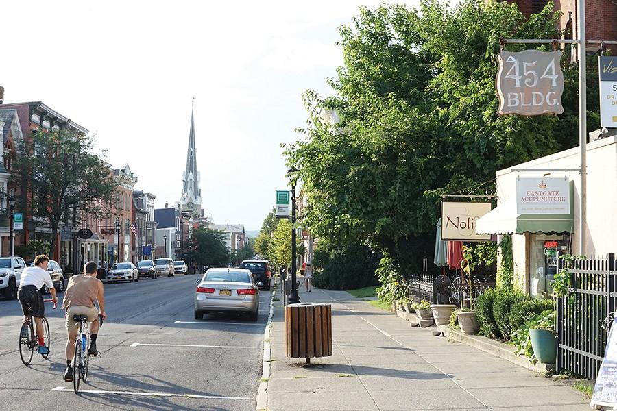 Biking on Warren Street. - PHOTO: JOHN GARAY