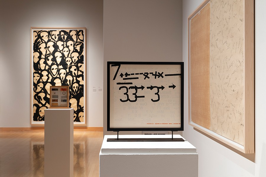 "Exhibition view of ""Paper Media: Boetti, Calzolari, Kounellis,"" curated by Francesco Guzzetti at The Samuel Dorsky Museum of Art, New Paltz through December 8. - PHOTO: ALEXA HOYER, COURTESY MAGAZZINO ITALIAN ART FOUNDATION"