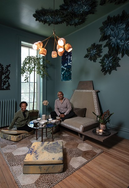 "Maryline Damour & Mel Jones Jr., Damour Drake. Damour, co-owner of Damour Drake and founder of Kingston Design Connection, and designer Mel Jones created a meditation space for the 2019 Kingston Design Showhouse. Built in the mid-1800s this year's - showhouse was a boarding house before the current owners turned into a single-family home 20 years ago. ""It's come full circle as an Air Bnb,"" Damour says. ""It lends itself well to being a showhouse. Design showhouses are really the best opportunity not just to meet on a social level, but to create something together. It really solidifies those relationships."" - PHOTO: DEBORAH DEGRAFFENREID"