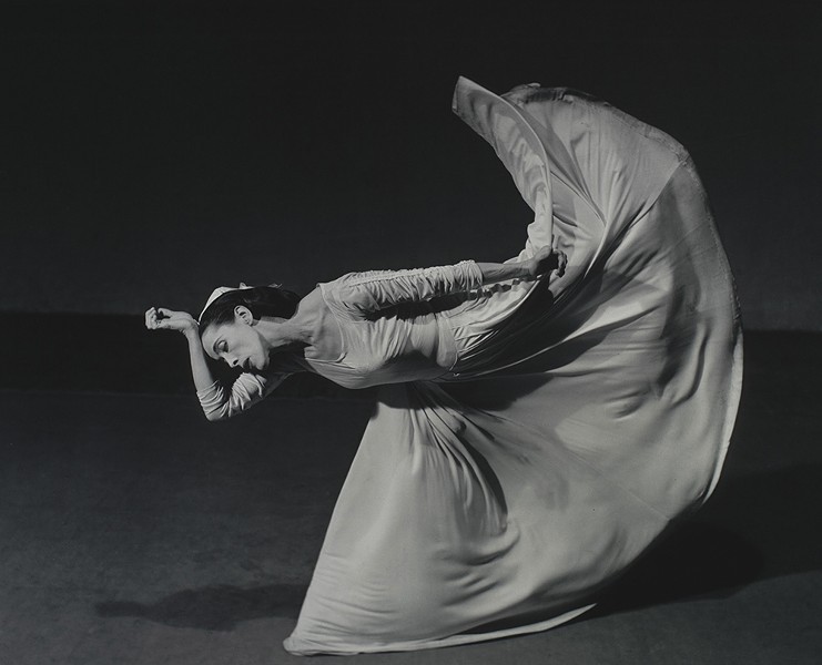 "Barbara Morgan's 1940 photograph Martha Graham Letter to the World (Kick), part of the ""Shape of Light"" exhibition at the Frances Lehman Loeb Art Center at Vassar College through December 15."