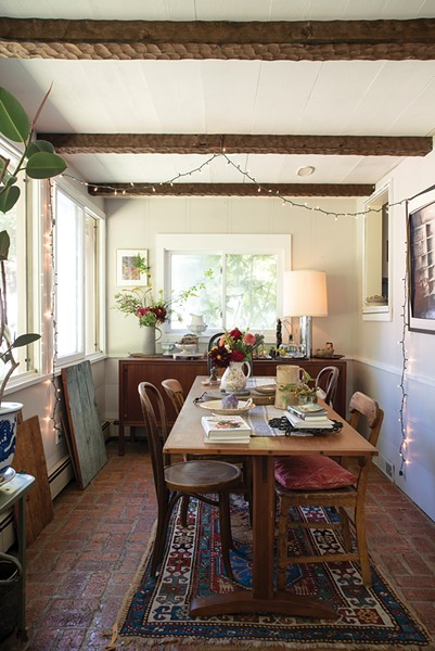 """The home's dining room can accommodate up to 14 people. Over the past year, the couple have hosted three eating events—a late summer harvest dinner, """"Eat the World"""" and an oyster bar and welcome 2019 brunch—as well as five-course cooking workshops. """"We would like to collaborate with local venues to produce future eating events, to bring in more community from this beautiful region,"""" says Lafferty. - PHOTO: DEBORAH DEGRAFFENREID"""
