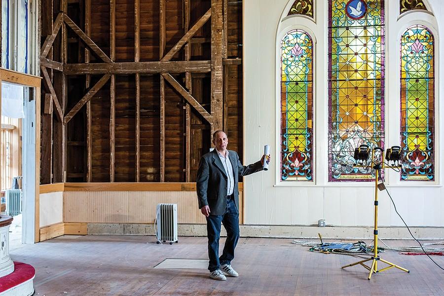Developer Paul Joffe inside the Flying Church. - PHOTO: ANNA SIROTA