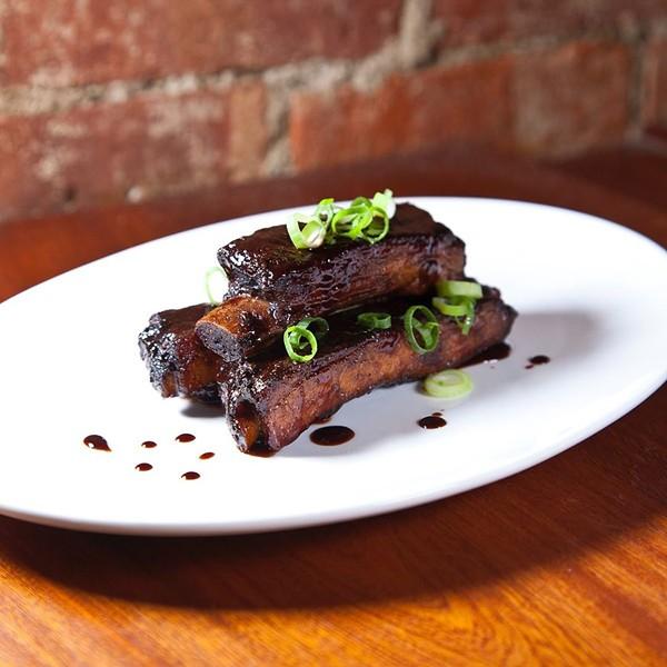 Jerk ribs tossed in sherry-tamarind glaze at Essie's Restaurant in Poughkeepsie. - PHOTO CREDIT: ALAN BATTMAN