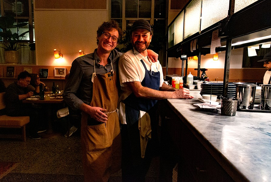 Server Ian Ellis and chef Gabe Ross in the - dining room of the Kinsley. - PHOTO: LINDSAY TALLEY