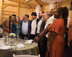 """Actual and would-be cannabis industry insiders gathered high society in Saugerties on June 19 to make connections at what organizers billed as the Hudson Valley's first ever """"A-list corporate cannabis networking event."""" Among those in attendance were Steve De Angelo (in blue hat), """"the father of the legal cannabis industry, and on his left, Norman Birenbaum, Governor Cuomo's medical cannabis czar."""