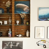 Home Is Where the Art Is Sea creatures by Andrea Mihavic and two works on paper by Susan Minot. The police car is a mirror from the Dutchess County Fair. Deborah DeGraffenreid