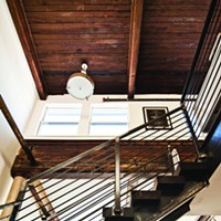 Meet the New Loft Rabe's unit contains orginal beams and woodwork. Steel railing and staircase by Metconix; stairs by Wickham Solid Wood Studio. Deborah DeGraffenreid
