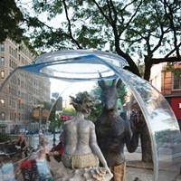 Kathy Ruttenberg's In Dreams Awake Fish Bowl on 157th Street in Manhattan. Cast silicon bronze, polyurethane patina, ceramic, acrylic, cast polurethane resin, cast concrete, LED lighting. Photo: Fionn Reilly