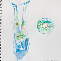 Kathy Ruttenberg's In Dreams Awake Topsy Turvy watercolor study. Photo: Fionn Reilly