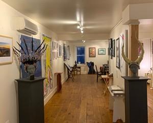 Part of the inside of Art JuXtapose Gallery in Rosendale, New York.