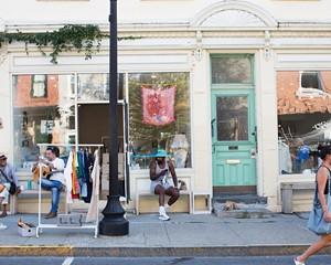 The scene outside of the new Warren Street shop, Bontleng, nextdoor to Nina Z.