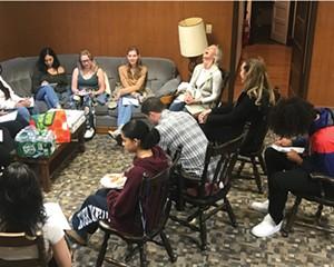 Volunteer peer leaders of the New Paltz-based AWARENESS organization training new leaders.