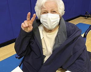 Josephine Occhiogrossi being vaccinated in February at the Theodore D. Young Community Center in Greenburgh. She turned 100 on March 21.