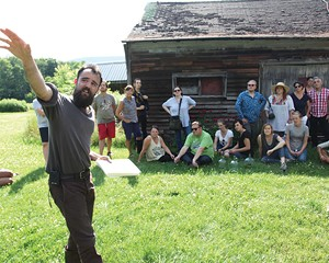 Isaac Green Diebboll speaks to participants of the Good Work Institute's Sullivan County tour on July 14, 2016.