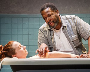 "Katy Sullivan and Wendell Pierce in 2016 Williamstown Theatre Festival production of ""The Cost of Living."""