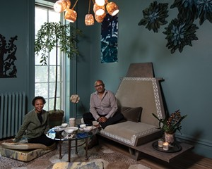 """Maryline Damour & Mel Jones Jr., Damour Drake. Damour, co-owner of Damour Drake and founder of Kingston Design Connection, and designer Mel Jones created a meditation space for the 2019 Kingston Design Showhouse. Built in the mid-1800s this year's showhouse was a boarding house before the current owners turned into a single-family home 20 years ago. """"It's come full circle as an Air Bnb,"""" Damour says. """"It lends itself well to being a showhouse. Design showhouses are really the best opportunity not just to meet on a social level, but to create something together. It really solidifies those relationships."""""""