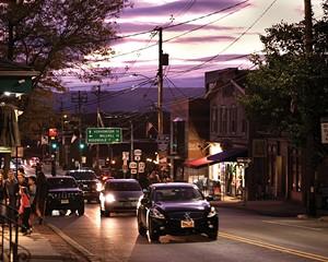 Main Street at dusk.