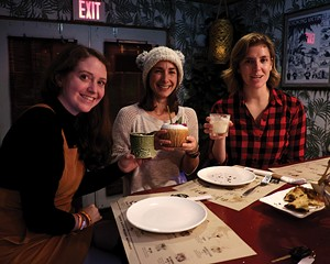 From left: Jenny Hayward, Caitlin Nagel, and Maggie Wynn at Fuchsia Tiki Bar in New Paltz.
