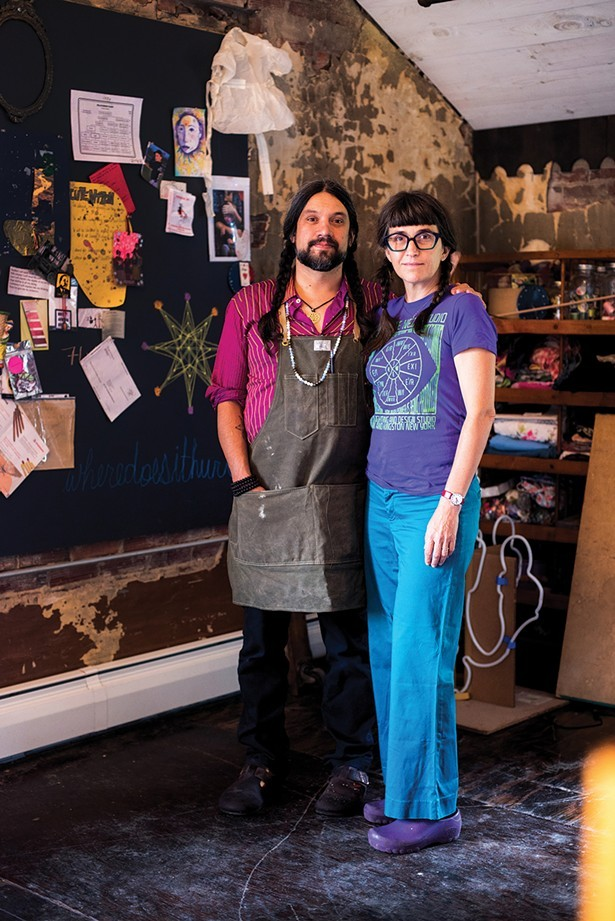 Lite Brite Neon Studio's founder, Matt Dilling, with his partner, Erika DeVries - MONICA SIMOES