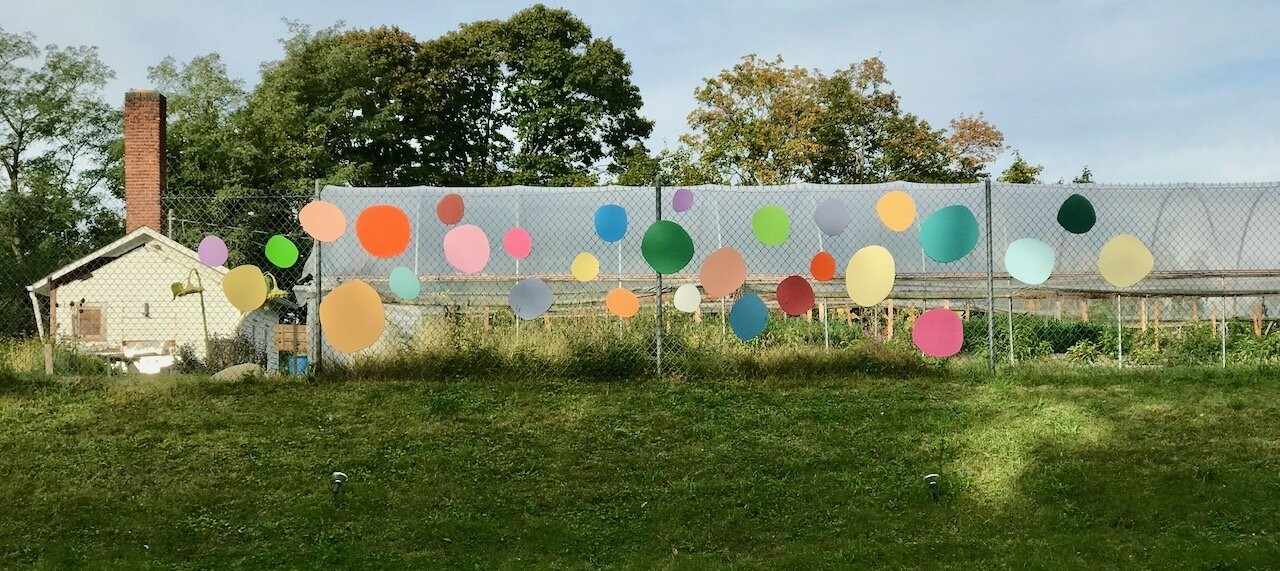 Part of the Terrain Biennial Newburgh 2019, installed at Newburgh Urban Farm and Food Initiative. - ERICA HAUSER, COLORGARDEN, 2019, SCRAP WOOD AND PAINT.