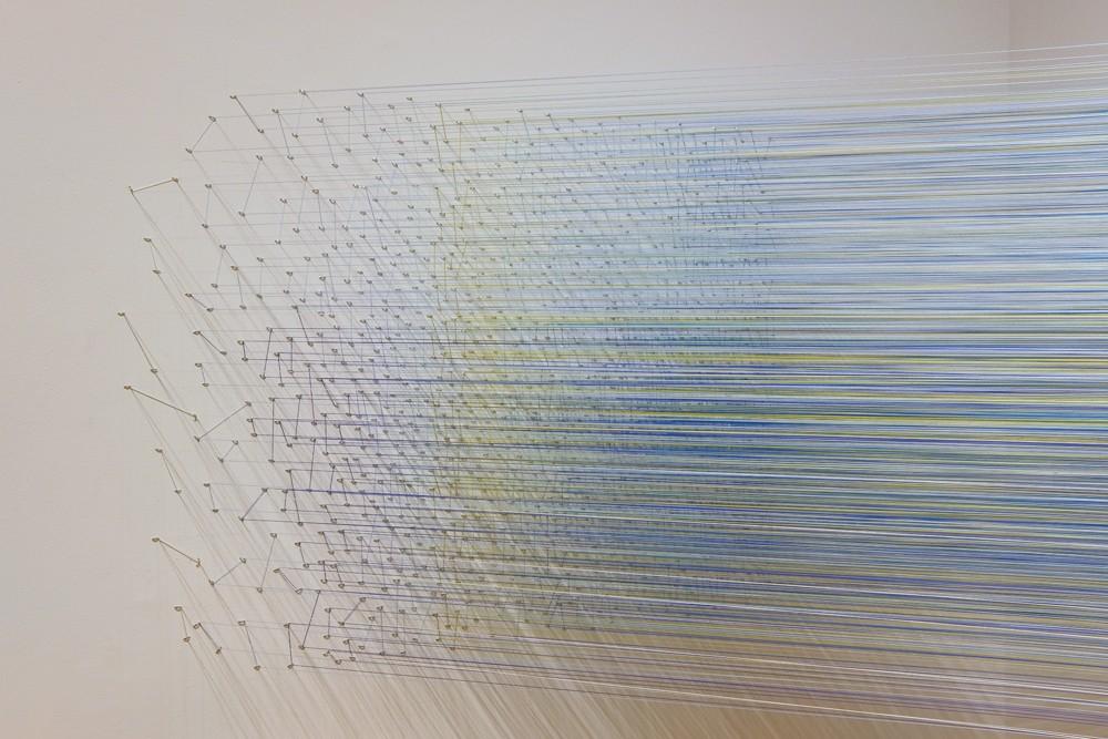 Anne Lindberg  30 Birds, cotton thread and staples - PHOTO BY DEREK PORTER