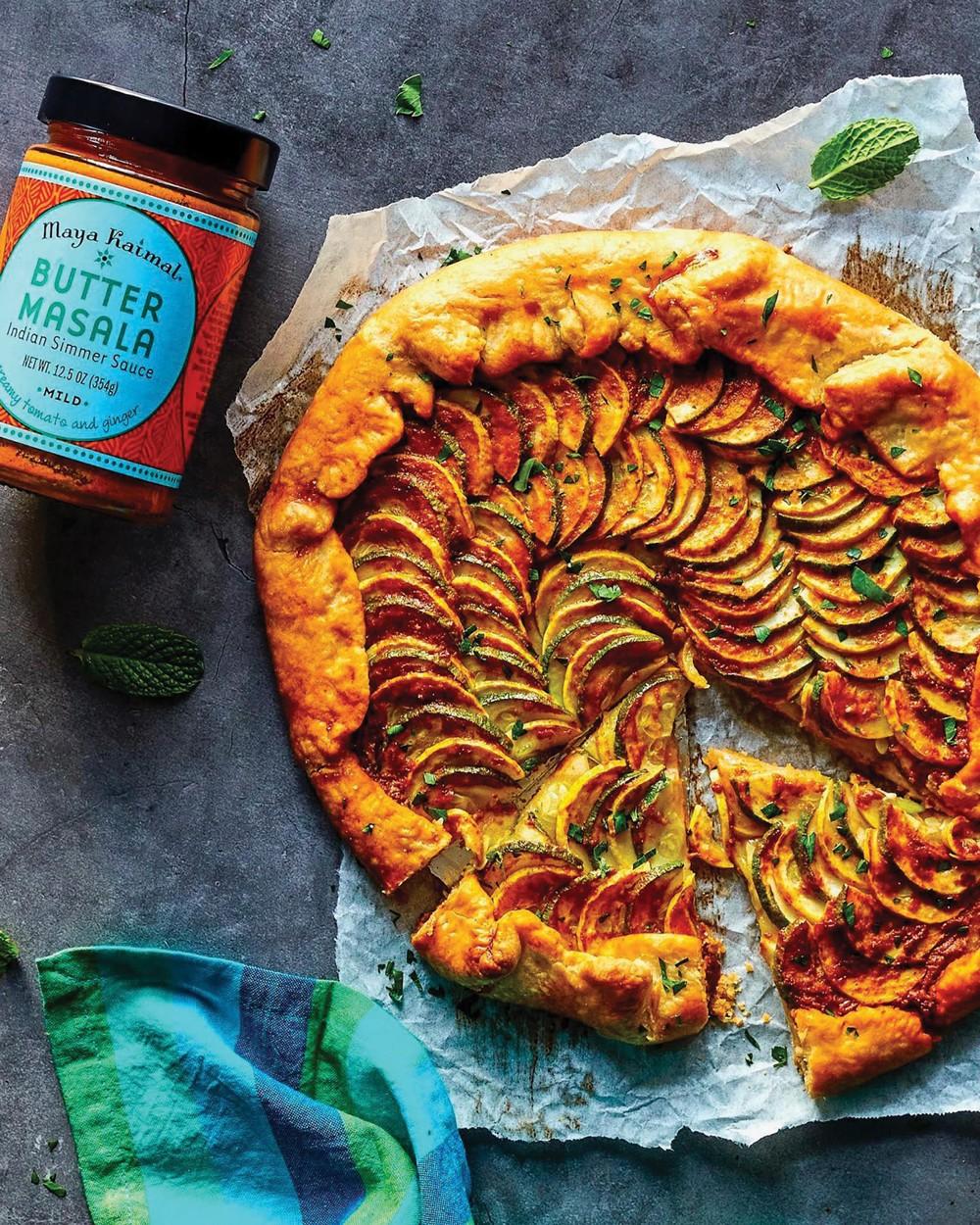 Masala Squash Galette: Flaky pastry topped with seasonal squash, fresh herbs, and Maya Kaimal's Butter Masala.