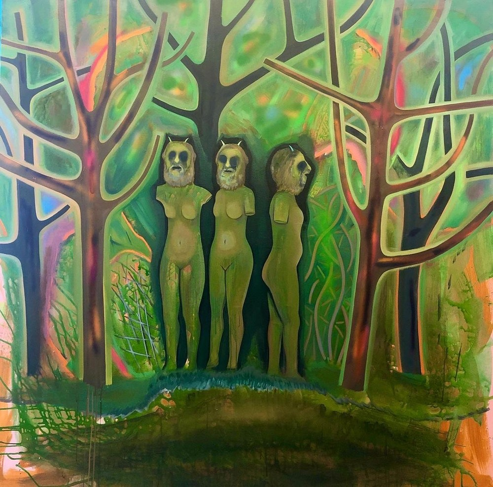 """Three Pan Goddesses, a painting by Jennifer Coates, will be exhibited at LABspace in Hillsdale as part of the group show """"The Magic Garden,"""" which runs February 20- April 11."""