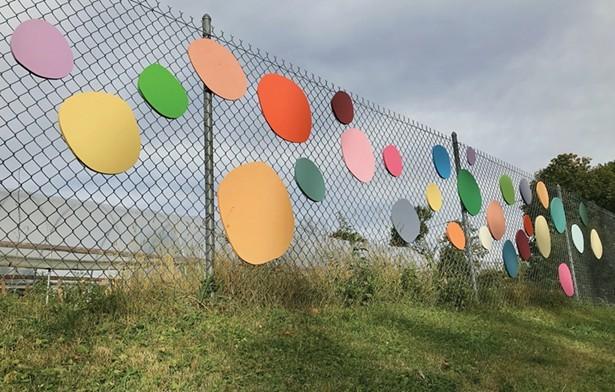 Colorgarden, Erica Hauser's installation for Terrain Biennial Newburgh 2019 at Newburgh Urban Farm and Food Initiative, 207 Carpenter Street.