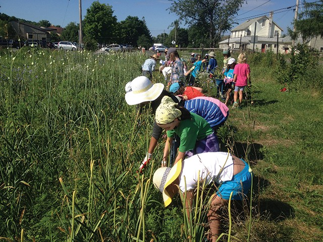 Students tending the gardens at the Hawthorne Valley School.
