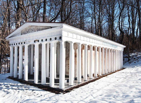 D'Ambra and Palaia's restored Greek Parthenon. One of only two Parthenons in in the United States (the other is in Nashville and was built for the World's Fair) the building required extensive, careful renovation and is now used as Palaia's studio. - PHOTOS BY DEBORAH DEGRAFFENREID