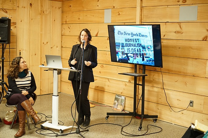 Luminary Media CEO Amara Projansky gives a presentation on The River, an ad-free, reader supported newsroom covering the Hudson Valley.