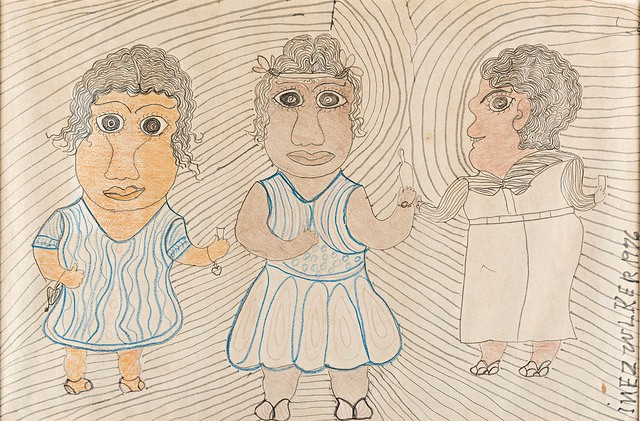 Three Figures, 1976 Colored pen and pencil on paper. Bequest of Pat O'Brien Parsons, class of 1951. - INEZ NATHANIEL WALKER (AMERICAN, 1907-1990)