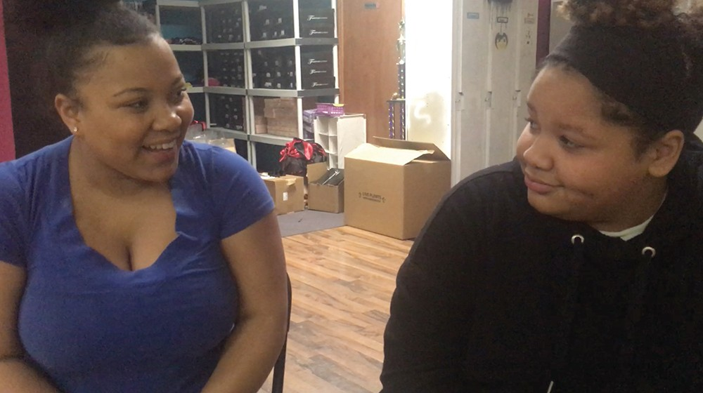 """Taveonna Ridley plays Alice and Hannah Wisdom plays Ella Fitzgerald in David McDonald's play """"Ella the Ungovernable,"""" which dramatizes Fitzgerald's time at a reform school in Hudson. The play premieres at Valatie Community Theater this month."""