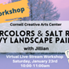 Virtual Art Class - Watercolors & Salt Resist: Snowy Landscape Painting @