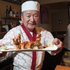 Sushi master Makio Idesako presenting a Spider roll