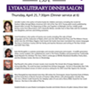 Lydia's Literary Dinner Salon @ Lydia's Cafe