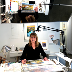 Betsy Jacaruso live streaming from her desk. - Uploaded by JacarusoStudio