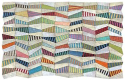 """Susan Stover, Undulations 2, 2020 46"""" X 72"""" cardboard, latex and acrylic paint with varnished and waxed linen thread - Uploaded by Carrie Haddad Gallery"""