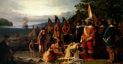 Purchase of Manhattan Island from the Indians by the Dutch in 1626 - Uploaded by Hudson Area Library