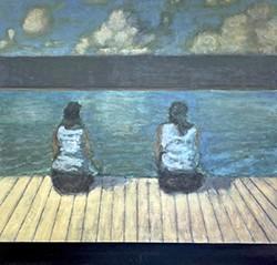 "DAVID KONIGSBERG - ""Dock, 11:15,"" 2021, oil on canvas, 46 x 48 inches"