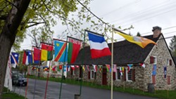 United Nations flags along Huguenot St, New Paltz NY - Uploaded by cealloway