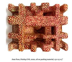 "Jean Foos, Paisley Crib, 2020, oil on packing material, 13 x 15 x 5"" - Uploaded by JeanFoos"