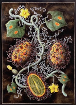 Scott Serrano, Professor Hitchcock's Tentacled Jelly Mellon, 2018, mixed media stipple drawing, text, and handmade frame, courtesy the artist - Uploaded by Dorsky Museum
