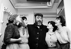 Zero Mostel, poses backstage with cast members after the play's opening performance at the Imperial Theatre on Sept. 22, 1964 - Uploaded by Rosendale Theatre