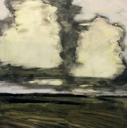 Big Cloud by David Konigsberg, monotype and oil on paper, 23 x 24 inches - Uploaded by Carrie Haddad Gallery